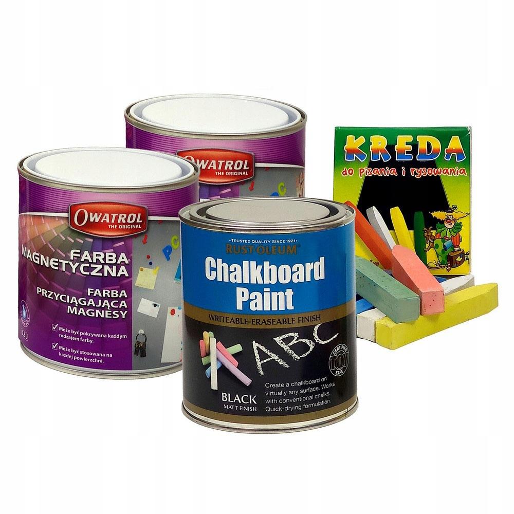 Набор красок для школьной доски + магнитный мел на 2,5 м