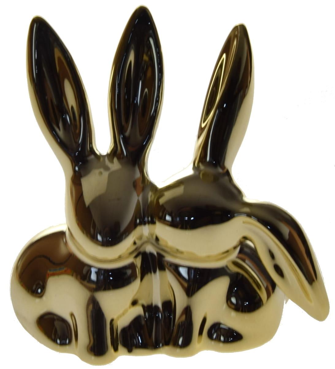 Królik króliczki złoty ceramiczny lustrzany