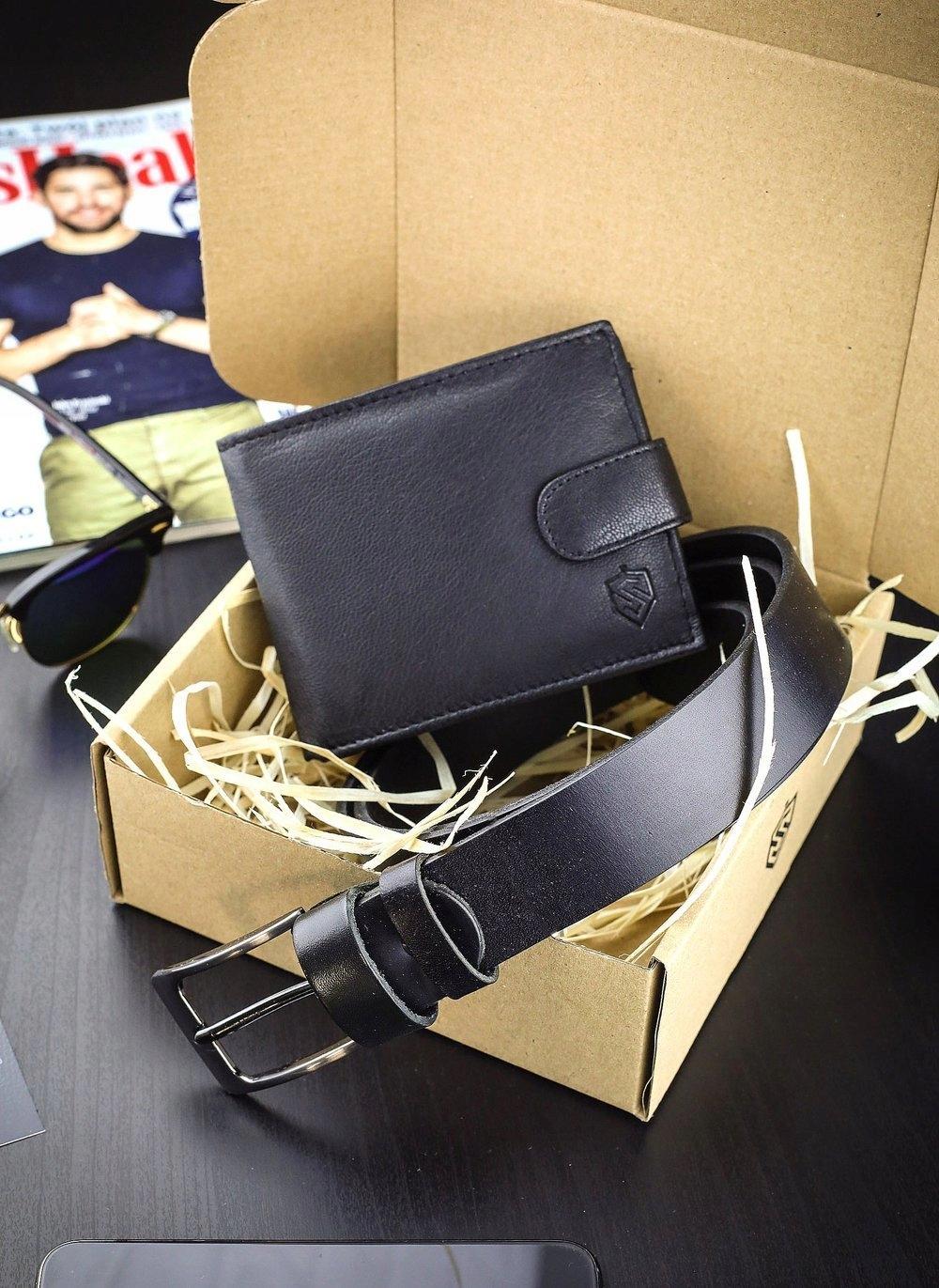 STEVENS GIFT SET Wallet Men's belt LEATHER A type of classic buckle