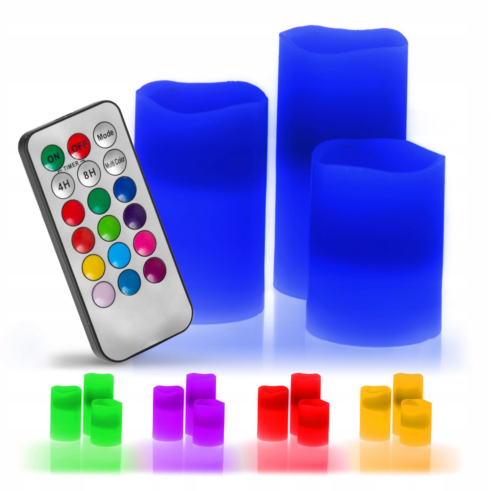 RGB LED СВЕЧИ настоящий воск набор из 3 шт.