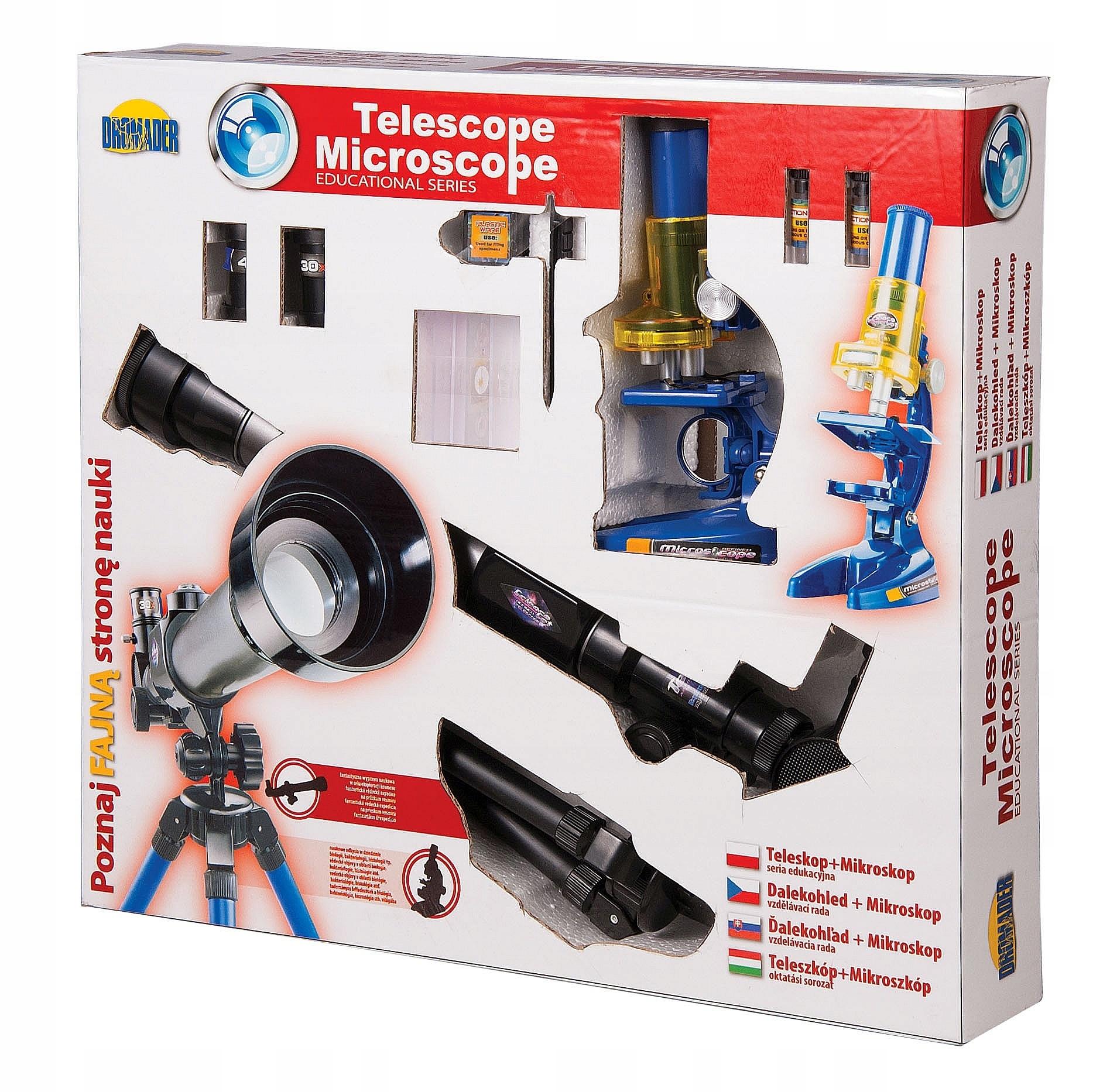 Sada astronomických ďalekohľadov a mikroskopov