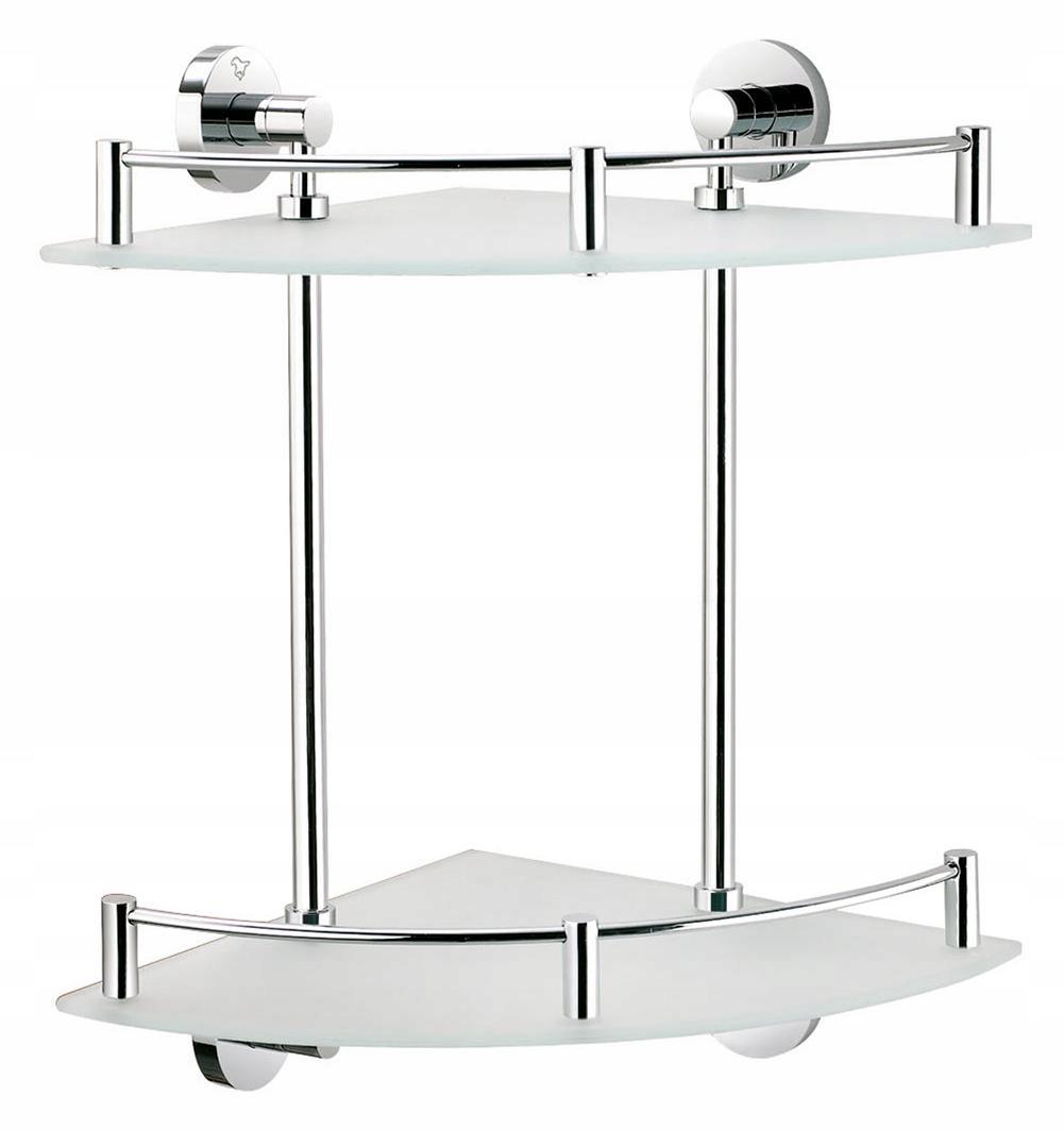 Dvojitá rohová sklenená polička do kúpeľne