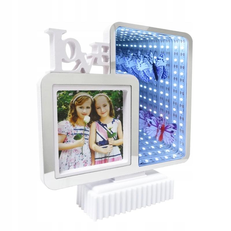 РАМКА ДЛЯ ФОТОГРАФИИ LED зеркало 3D стоящая LOVE