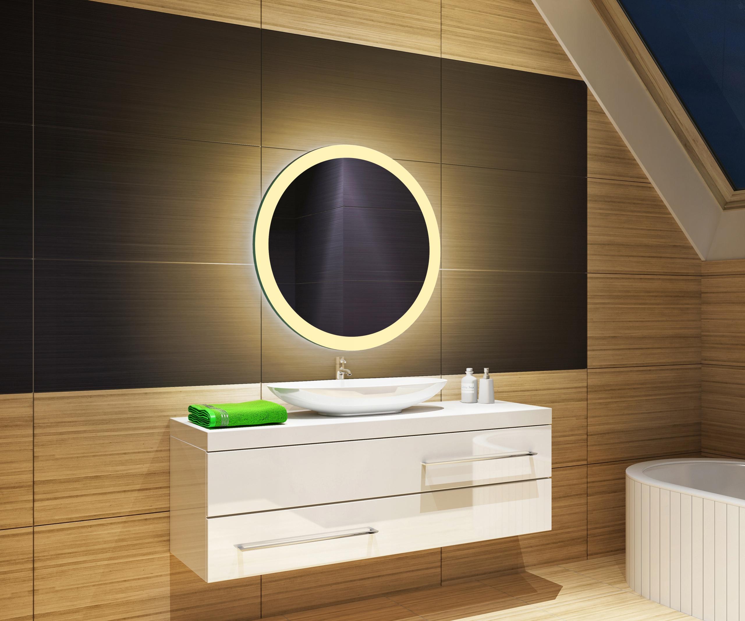 LED zrkadlo 60x60, okrúhle, teplé biele
