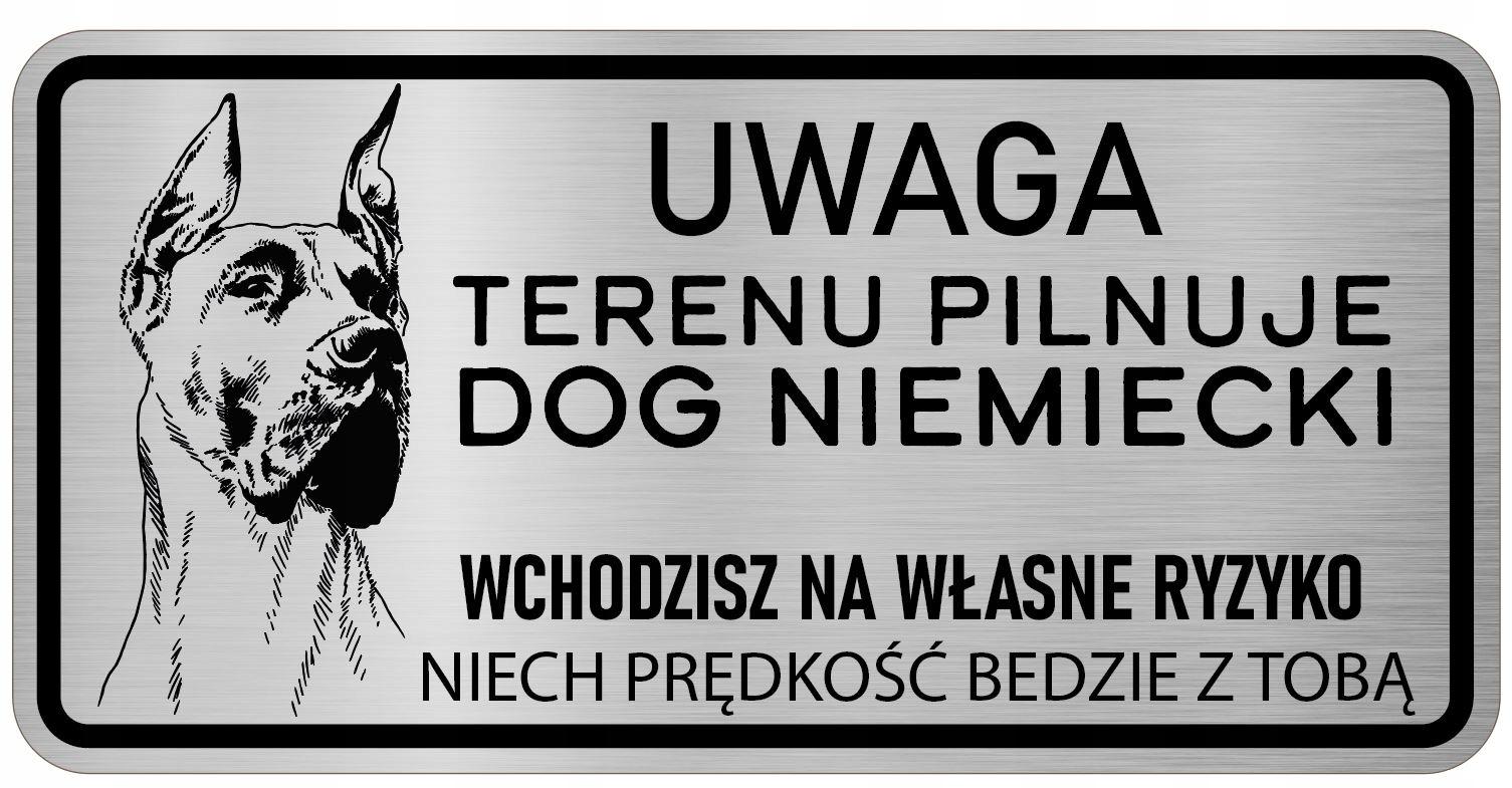 Uwaga Pies Tabliczka nierdzewna Dog Niemiecki