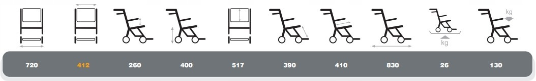 WÓZEK TRANSPORTOWY Vermeiren DO TRANSPORTU Maksymalne obciążenie 130 kg