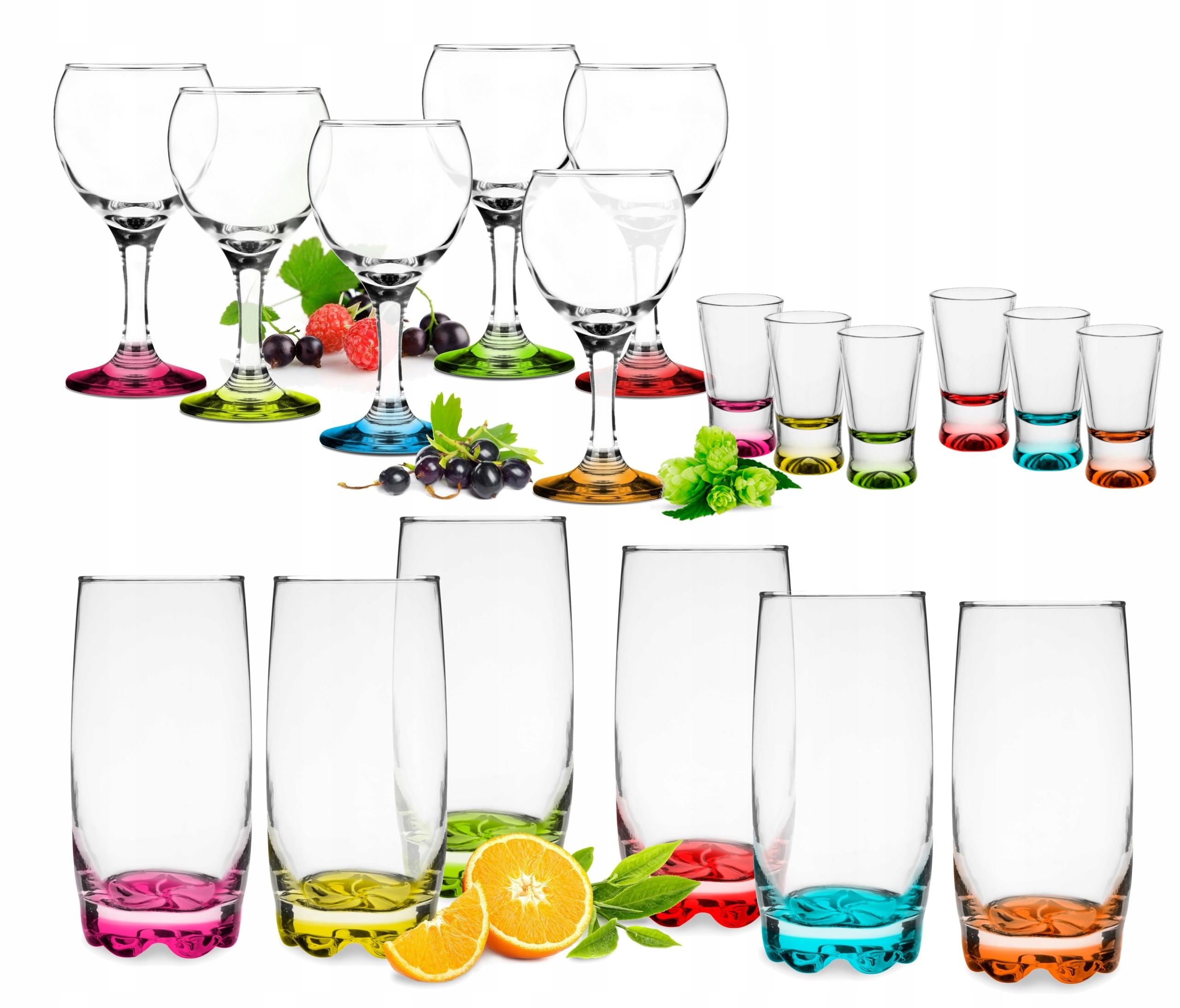 Komplet szklanki mix kolor + kieliszki GRATIS