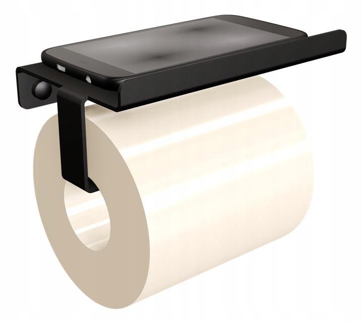 Držiak na toaletný papier s čiernou poličkou