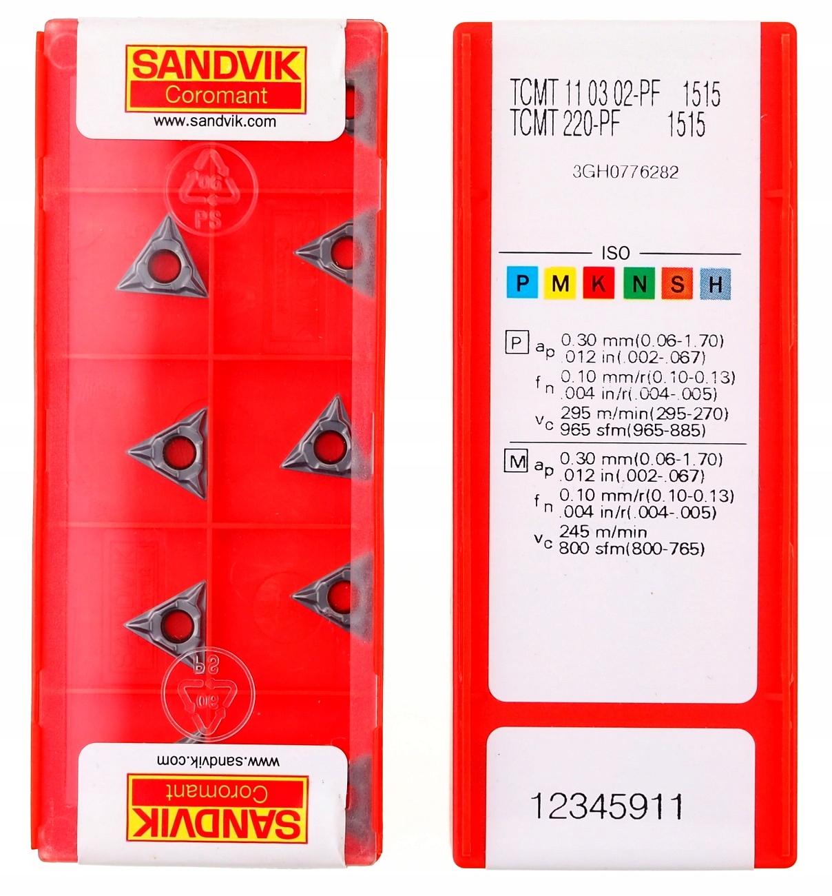 TCMT 110302 Karbidové dlaždice - PF 1515 Sandvik