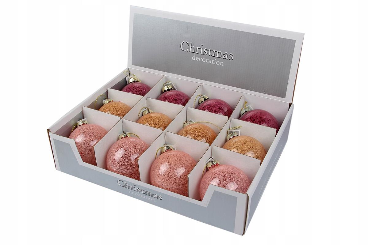 Matné sklenené guličky, 12 ks, ružové alebo oranžové