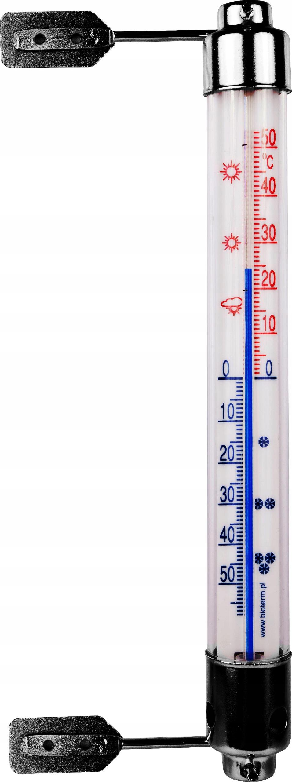 TERMOMETR ZAOKIENNY ZEWNĘTRZNY METALOWY 20cm