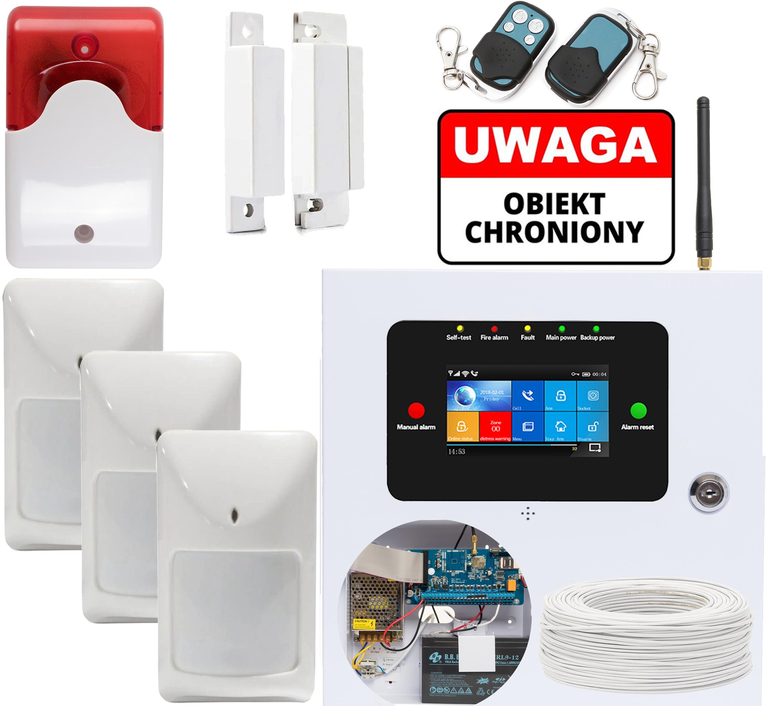 PRZEWODOWY ALARM LCD GSM APP SYRENY WIFI POLSKI