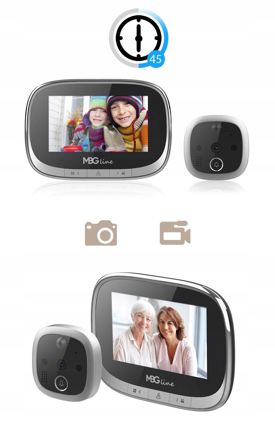 WIZJER LCD ZDJĘCIA DZWONEK JUDASZ CZUJNIK RUCHU HD Grubość drzwi 35-120 mm