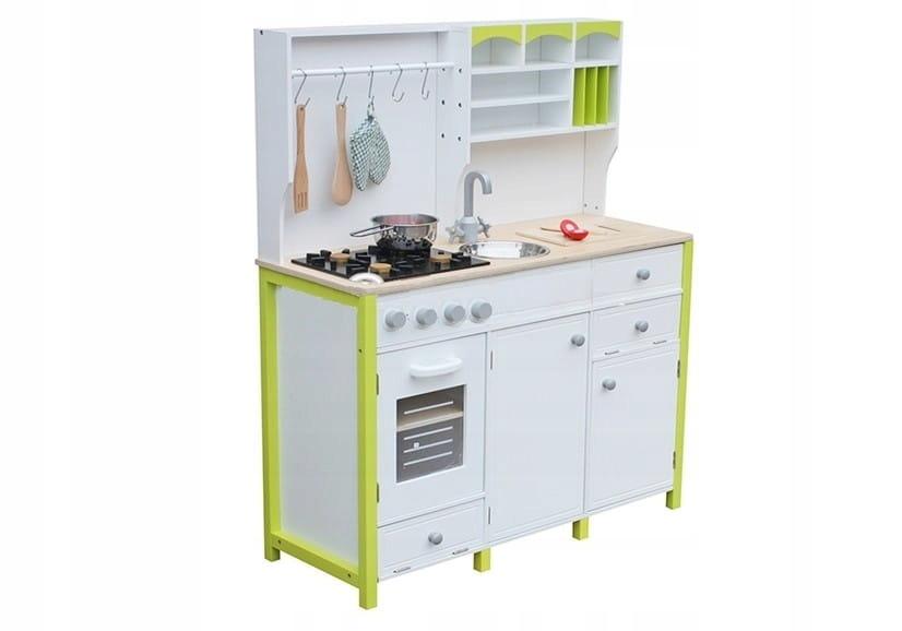 Drevená kuchyňa pre deti zelená a biela