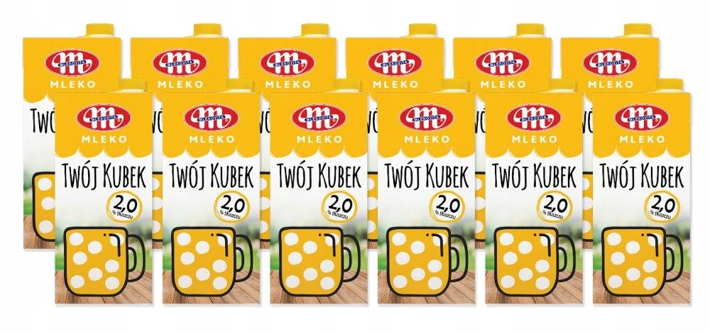 Zestaw 12l mleka UHT Mlekovita Twój Kubek 2%