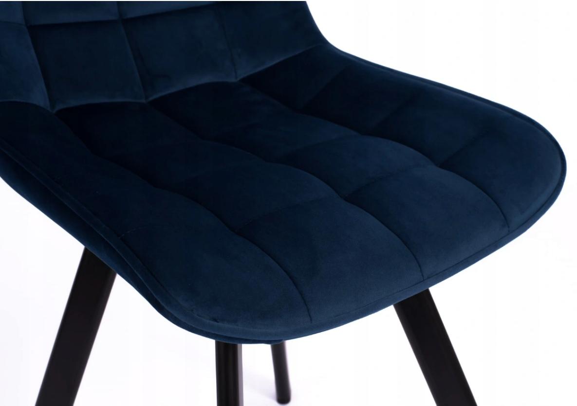 Krzesło Tapicerowane Pikowane Granatowe Welur Wysokość mebla 84 cm