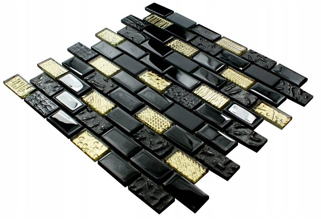 Mozaika szklana czarno złota VOLCANO CEGŁA GOLD