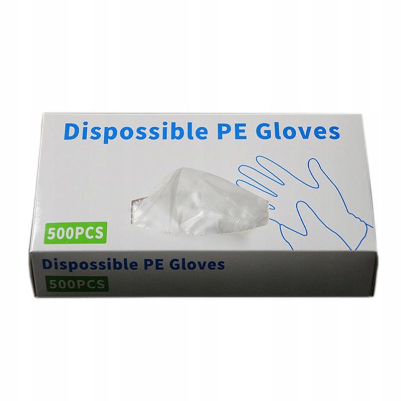500 прозрачных полиэтиленовых одноразовых кухонных рукавиц