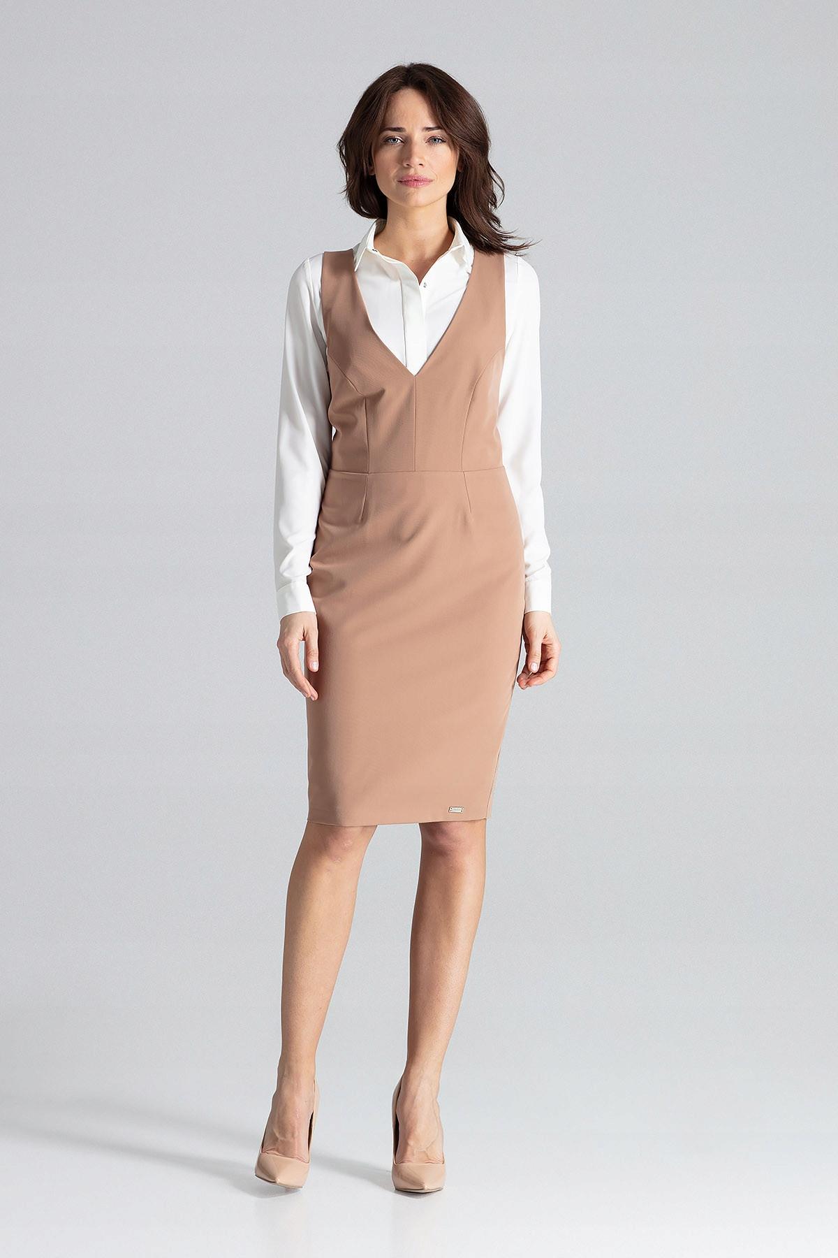 Elegancka Sukienka MIDI z Szelkami roz XL