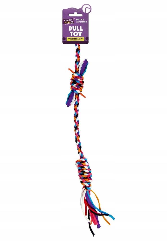 Игрушка для собаки, веревка с узлами и резак.