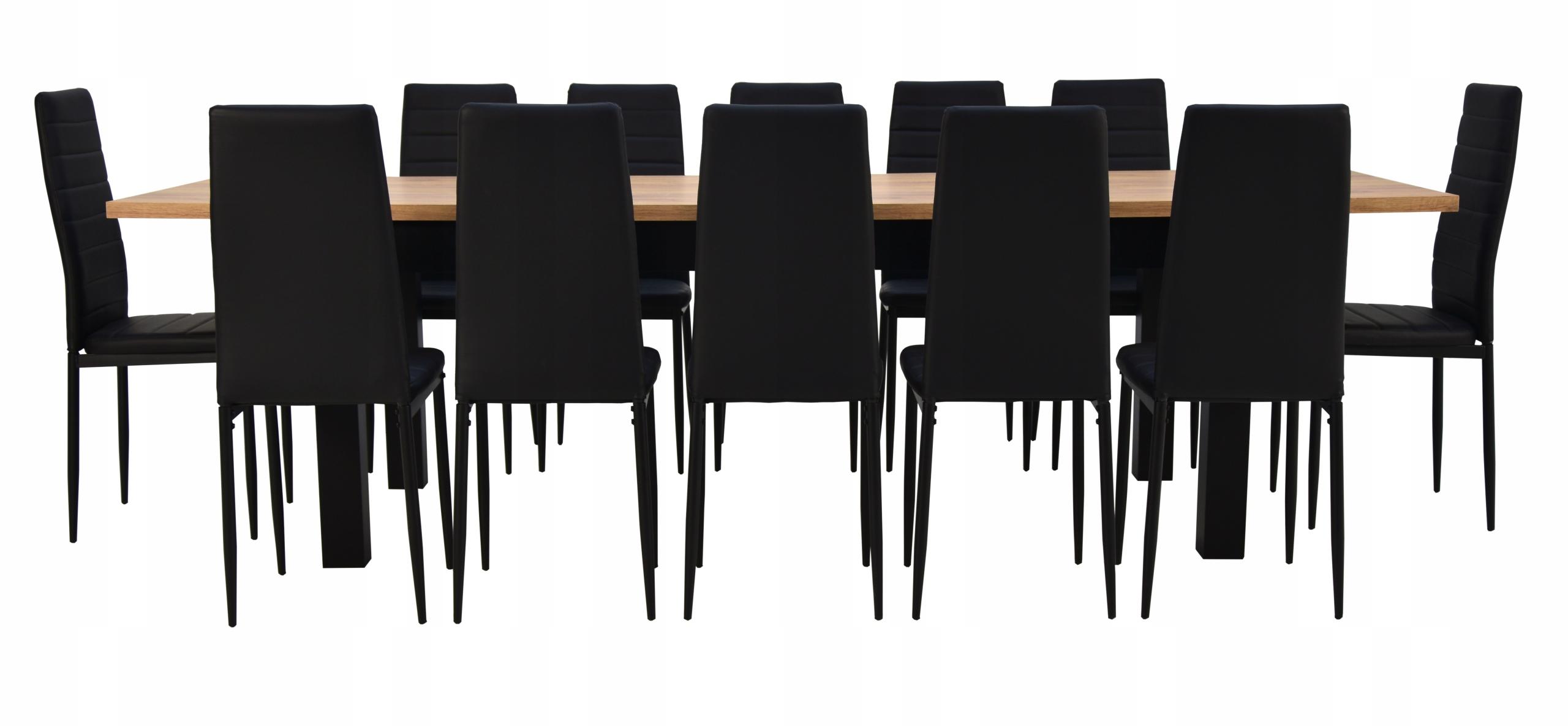 Duży stół drewniany 90x200/280 cm 12 krzeseł