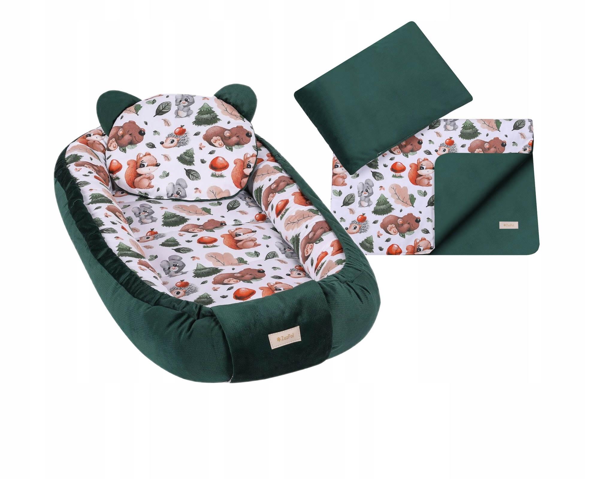 Кокон с пледом и набор подушек бутылочно-зеленый