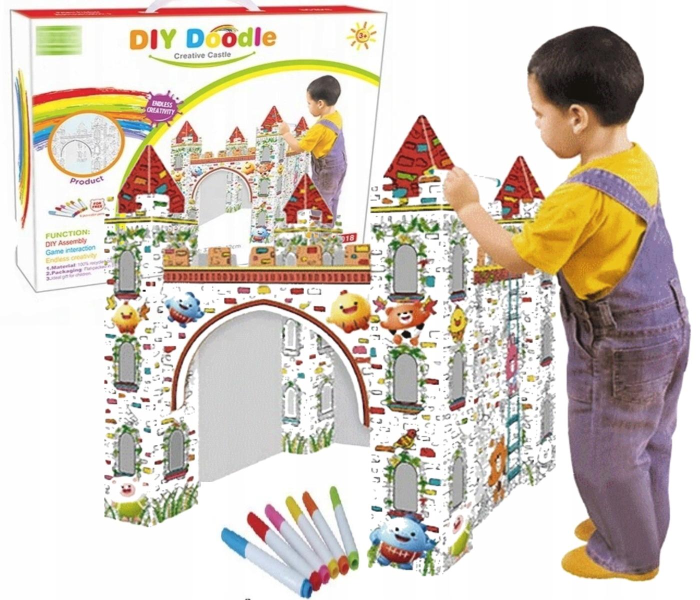 Zamek domek do malowania i flamastry