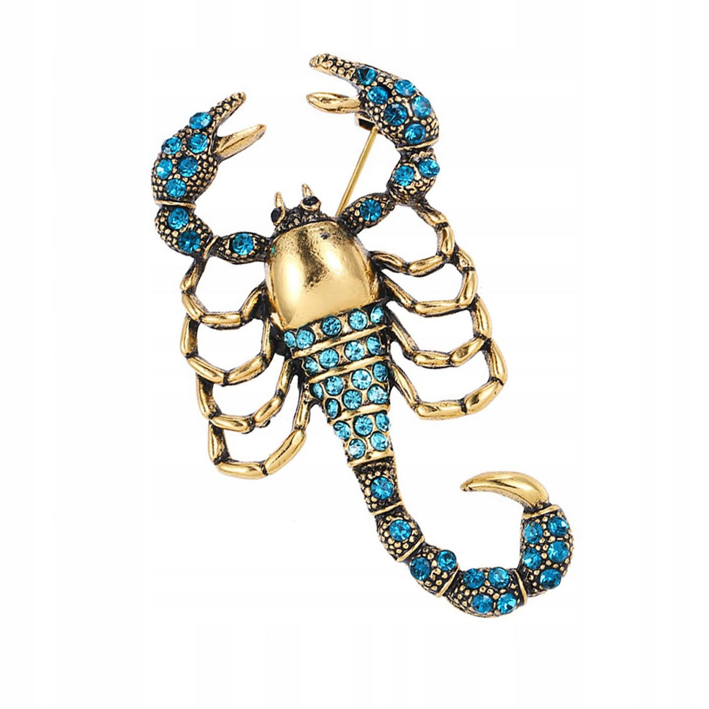 Pinets broszka Skorpion złoty cyrkonie znak zodiak