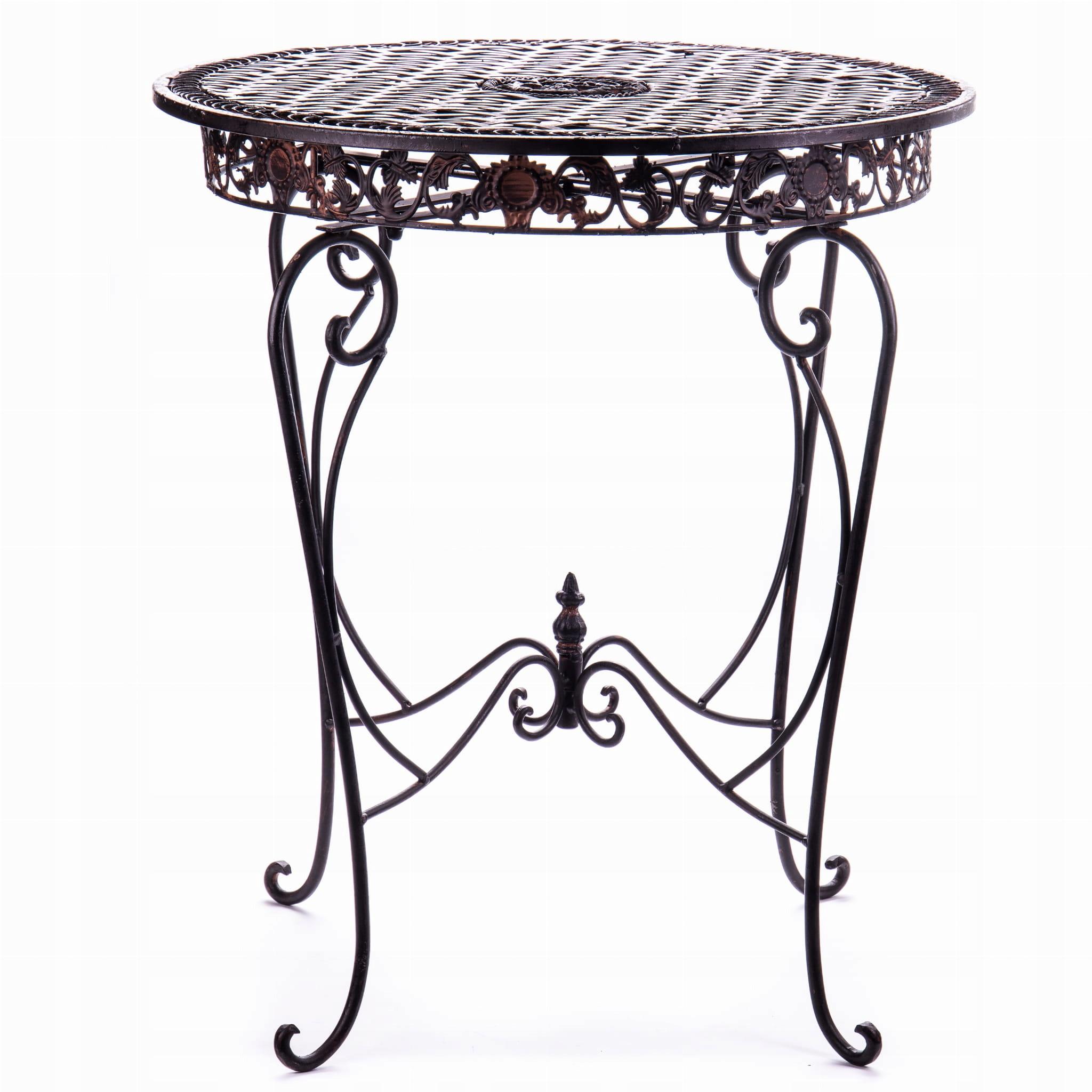 Okrúhly kovový záhradný stôl hnedý Vintage