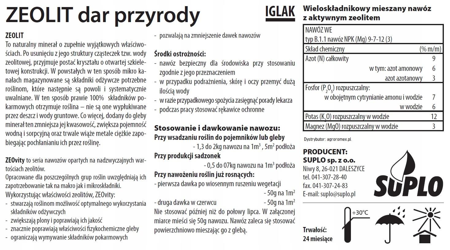 ZEOVIT Polski nawóz do iglaków 3kg SUPER JAKOŚĆ Producent suplo
