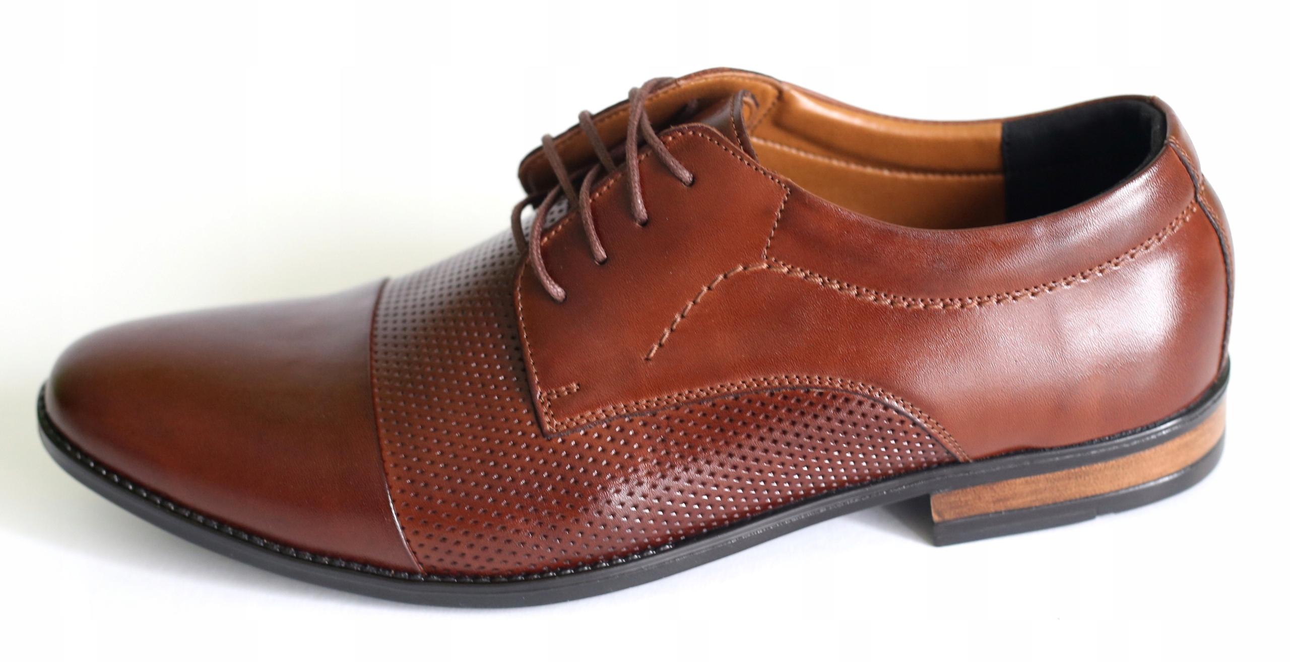 Skórzane obuwie wizytowe brązowe buty 323 BAf