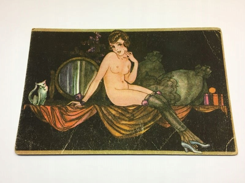 Pre-vojnová pohľadnica - NPG - Erotica Act Woman