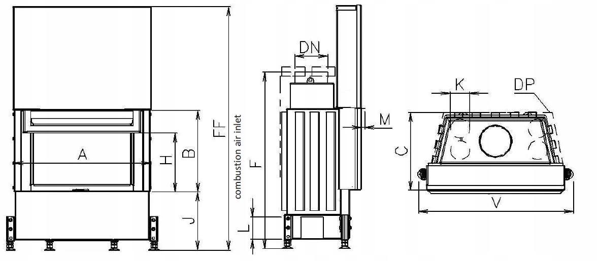 EKO VD 740/450 prosta szyba – Kobok wkład stalowy Waga produktu z opakowaniem jednostkowym 4 kg