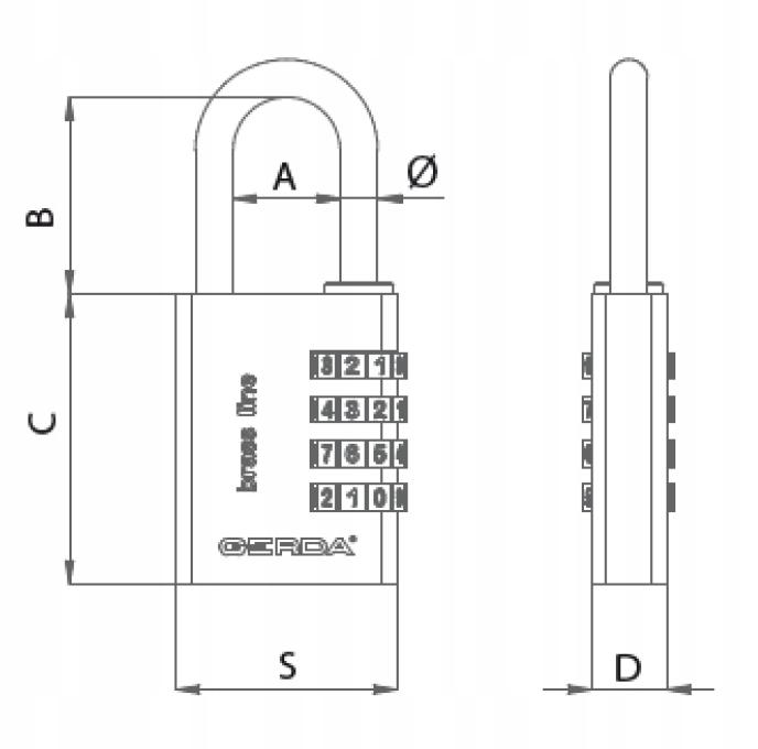 Kłódka GERDA Mosiężna Szyfrowa na Kod Szyfr 40mm Marka Gerda