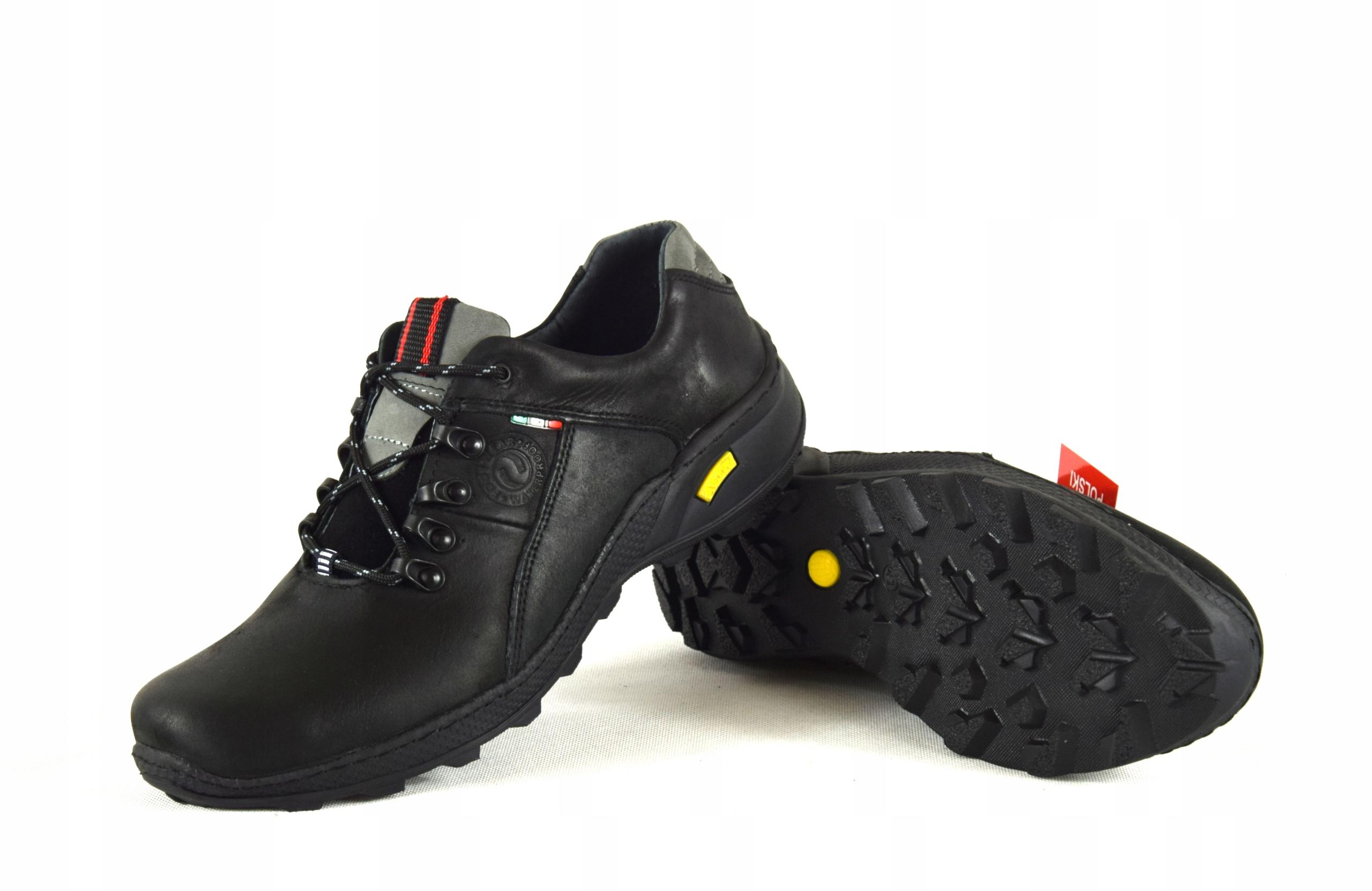 Męskie skórzane obuwie trekkingowe ze skóry 296 Długość wkładki 28.5 cm