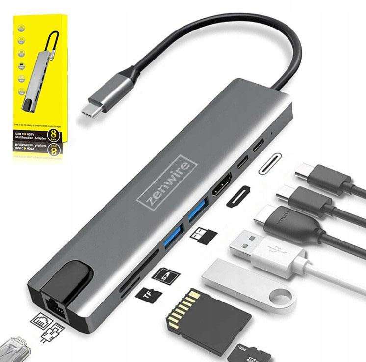 ADAPTER HUB 9w1 USB-C HDMI RJ45 Ethernet SD Mac M1