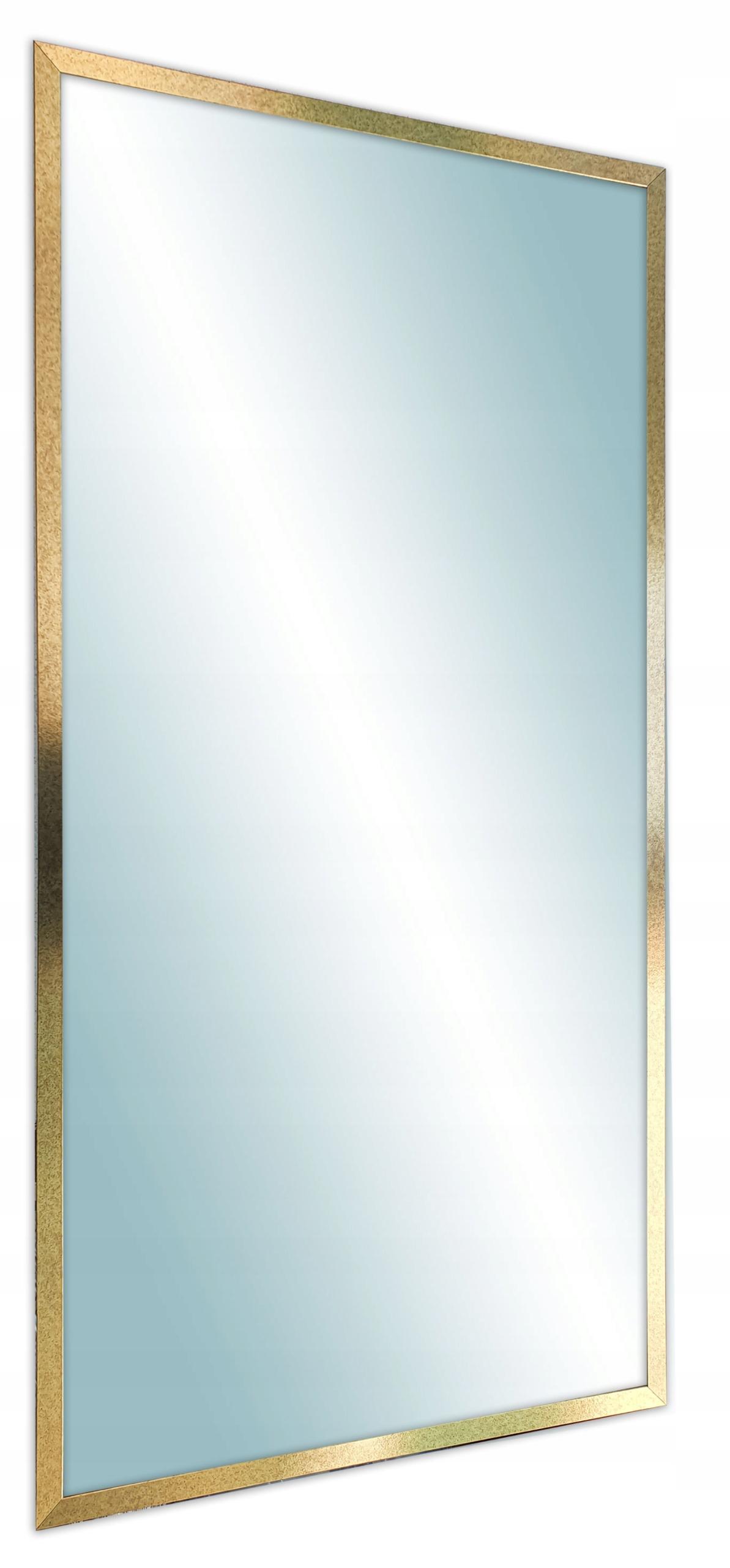 Зеркало в современной узкой золотой раме 120х60