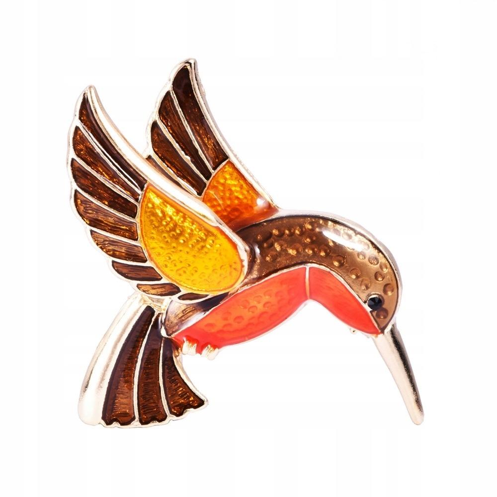 Retro lietajúci vták v tvare kvapky ručne smaltovaný