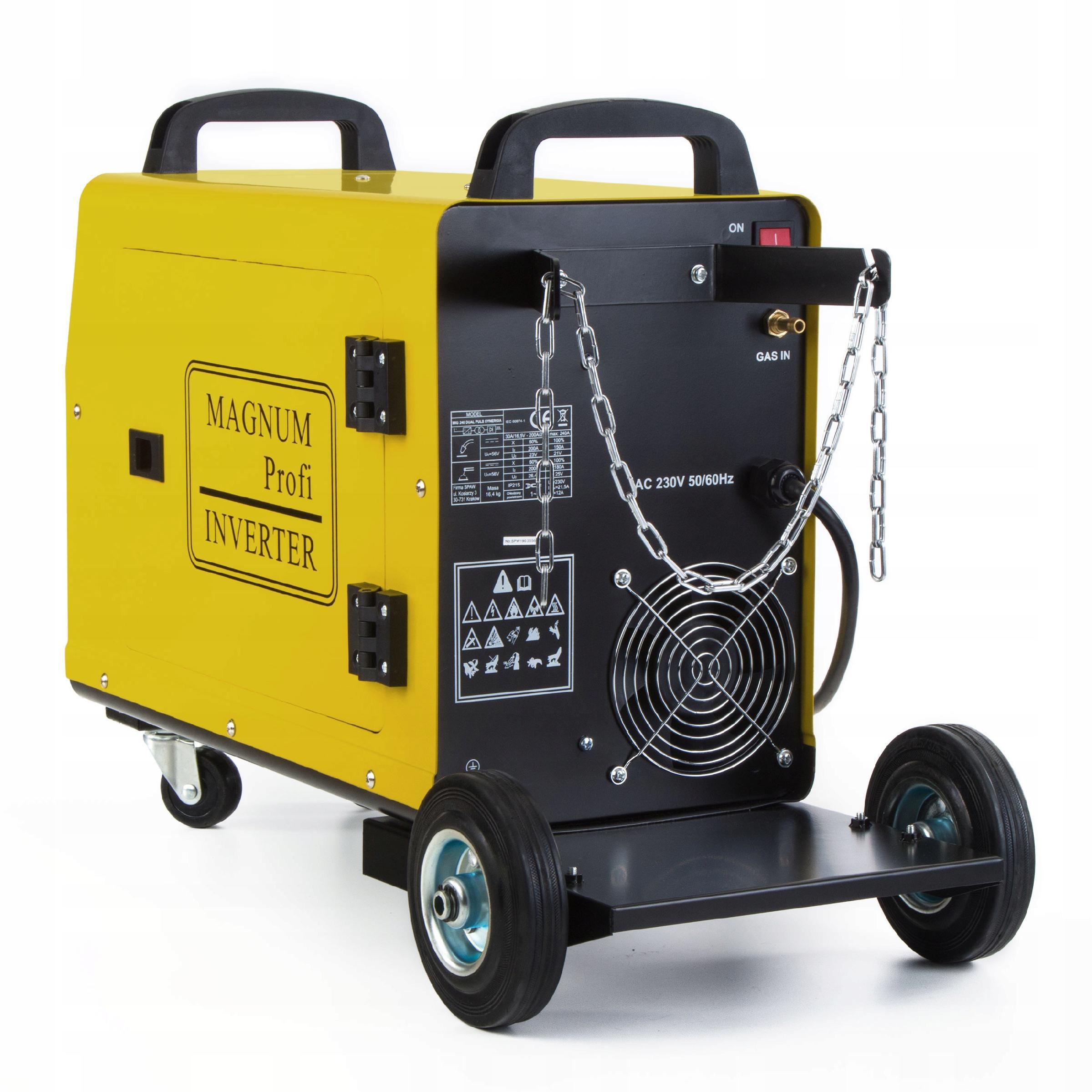 Spawarka MIGOMAT MAGNUM MIG MAG 240 PULS SYNERGIA Cechy dodatkowe koła transportowe płynna regulacja prądu spawania uchwyt EURO wyświetlacz LCD