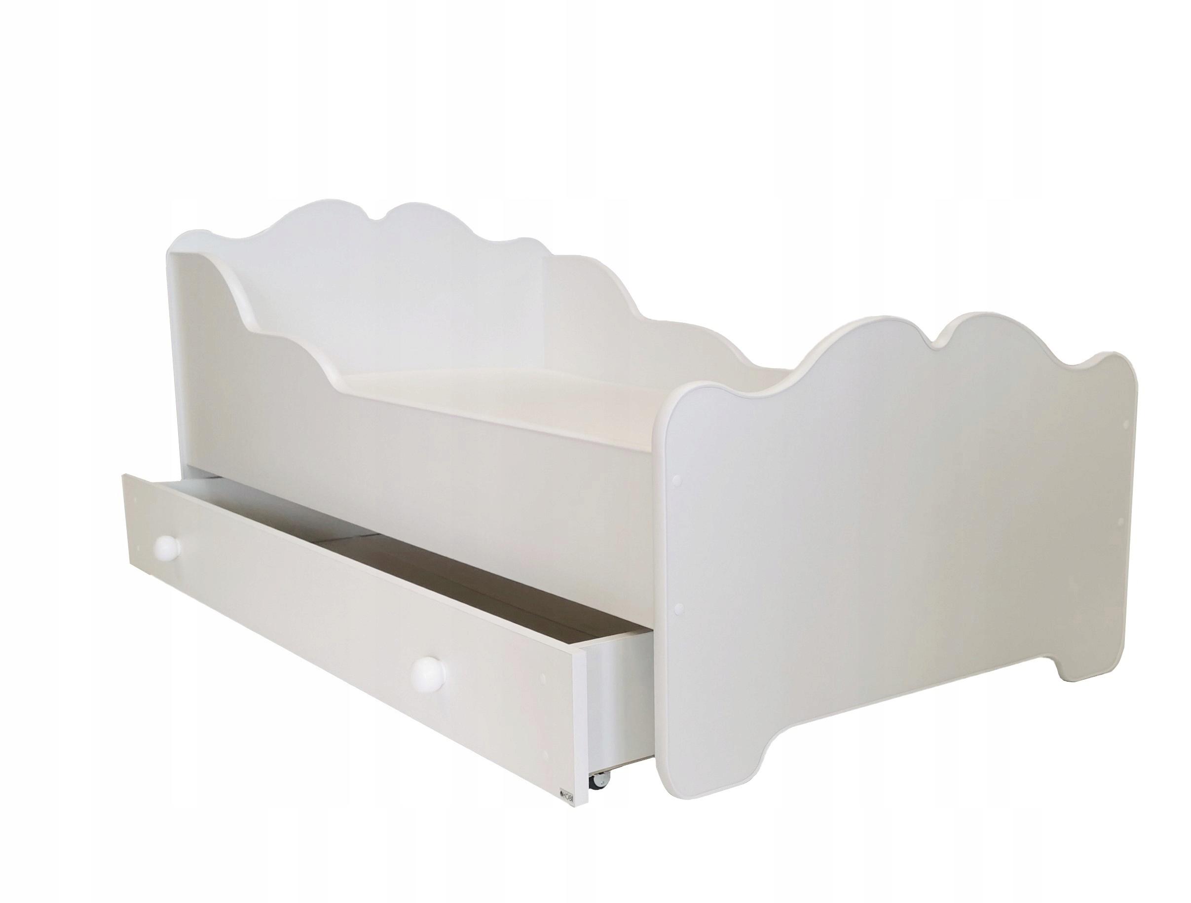 łóżko dziecięce białe 160x80 z szufladą + materac