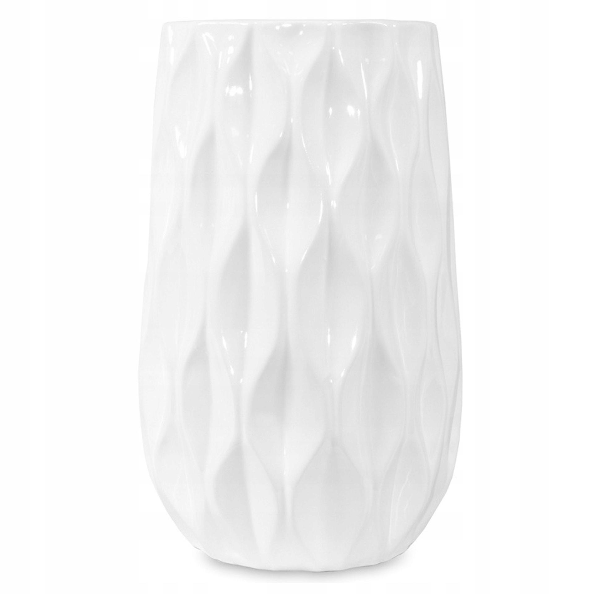 Váza na kvety geometrická Ede biela retro 28 cm
