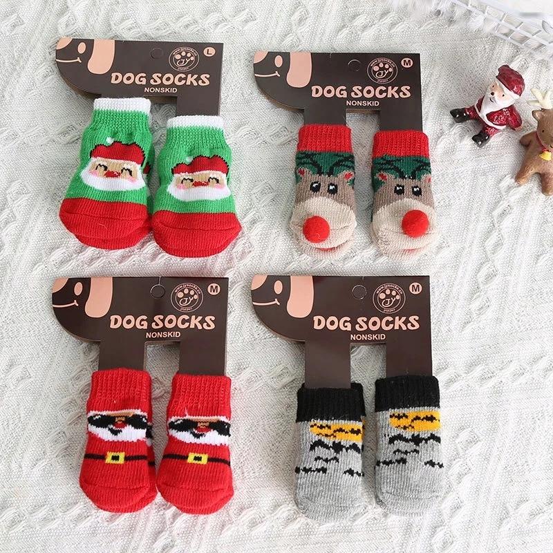 Носки нескользящие носки для собаки 4 шт M.