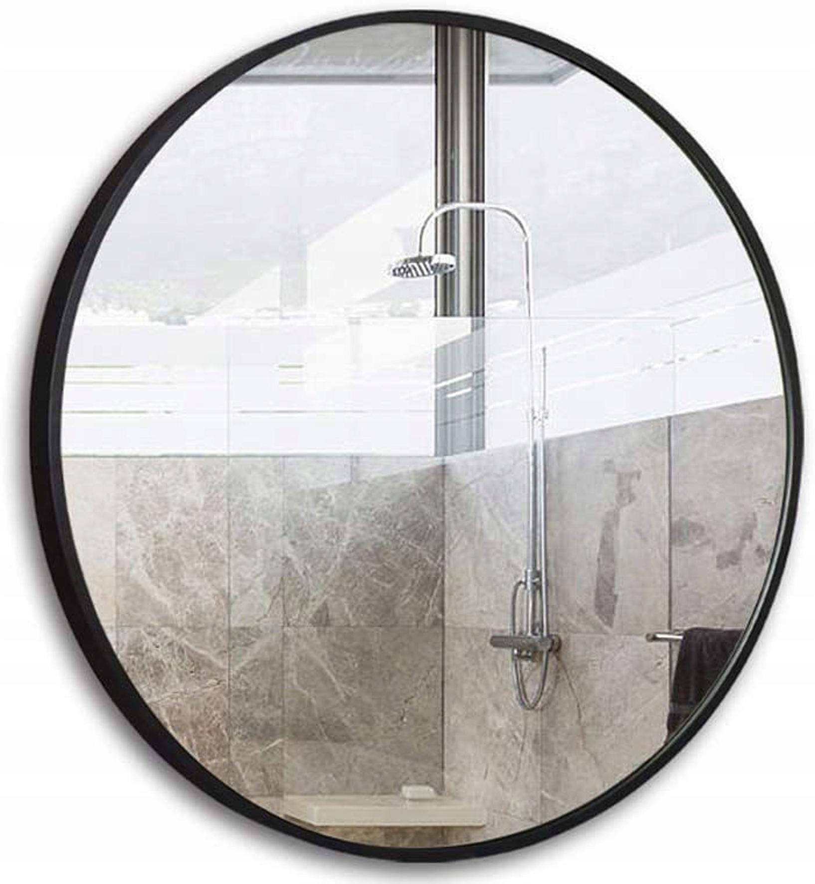 Круглое настенное зеркало Loft в черной рамке 70 см.
