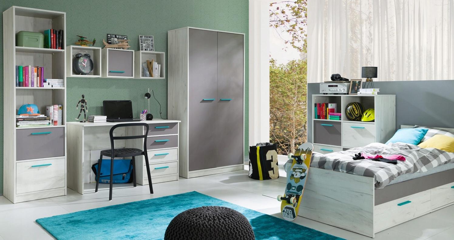 Detský nábytok ZVYŠOK 2 dub plavidlá, biela / šedá