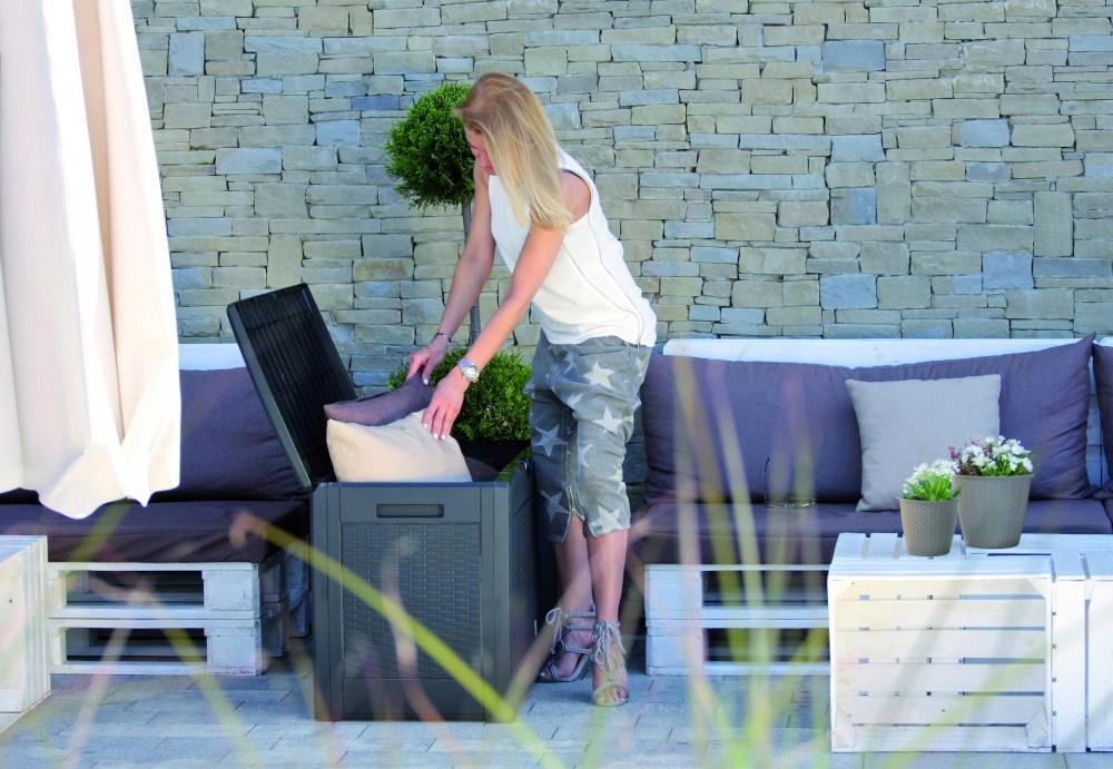 Záhradná truhlica BOXE RATAN PLUS 2v1 SEDADLO Výrobca Prosperplast