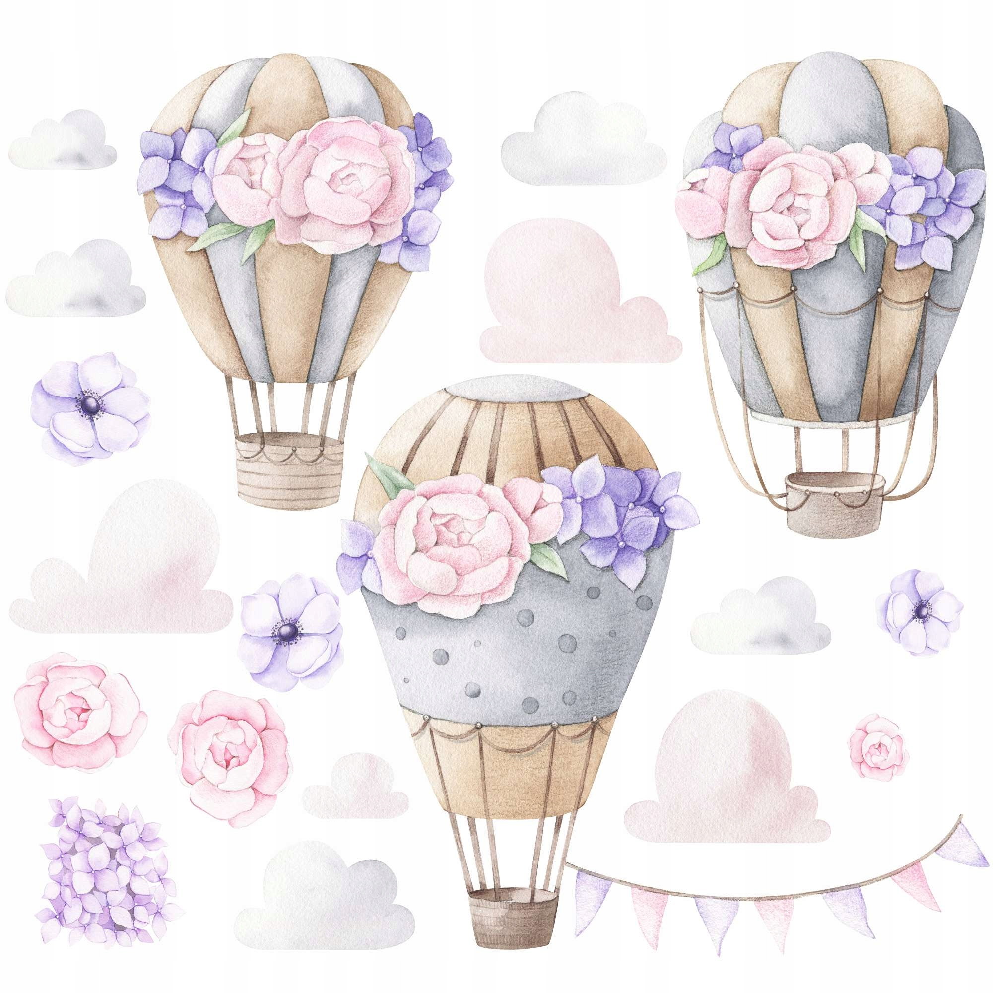 Большие розовые шары с наклейками на стену с цветами