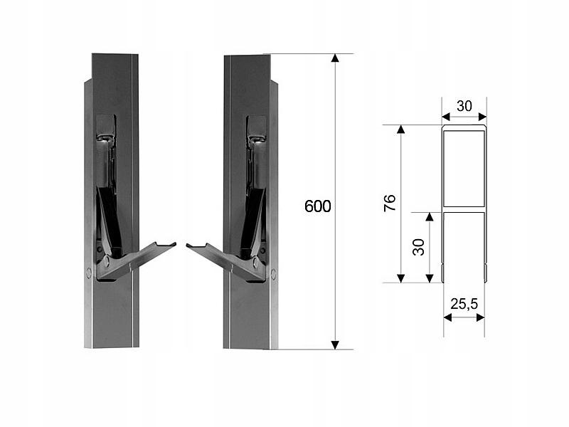 H600 P / L алюминиевый боковой вертикальный замок