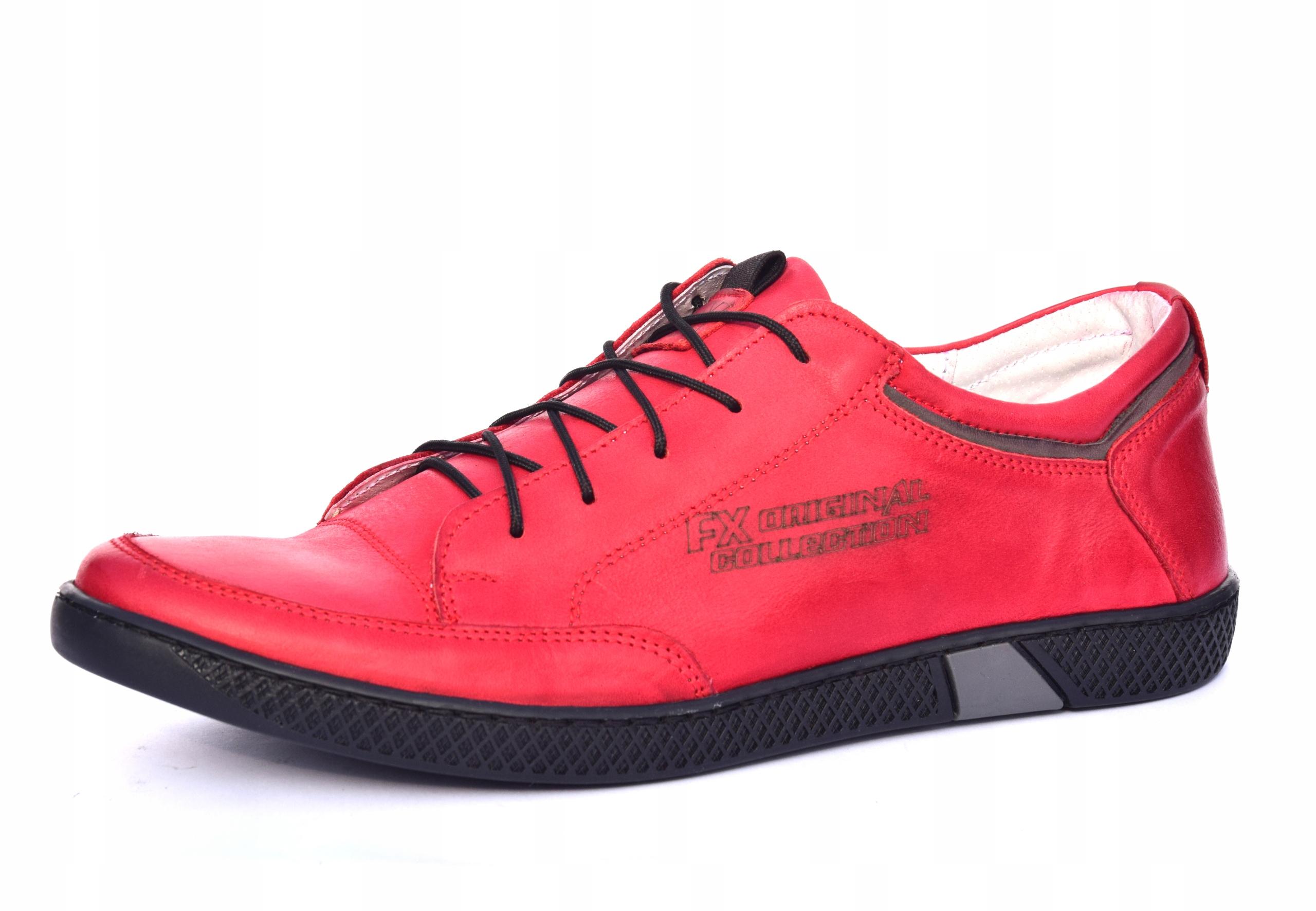 Skórzane czerwone sznurowane półbuty czerwone 0447