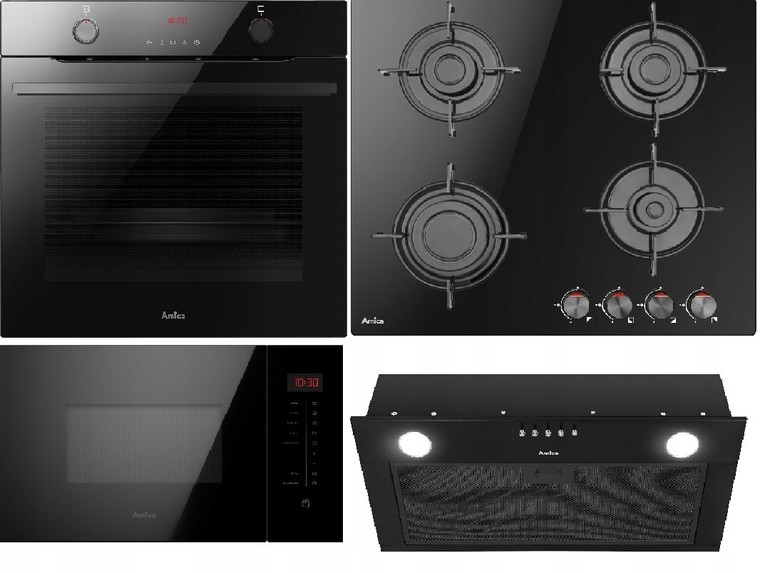Комплект Amica Steam Oven. Вытяжка. Микроволновая печь.