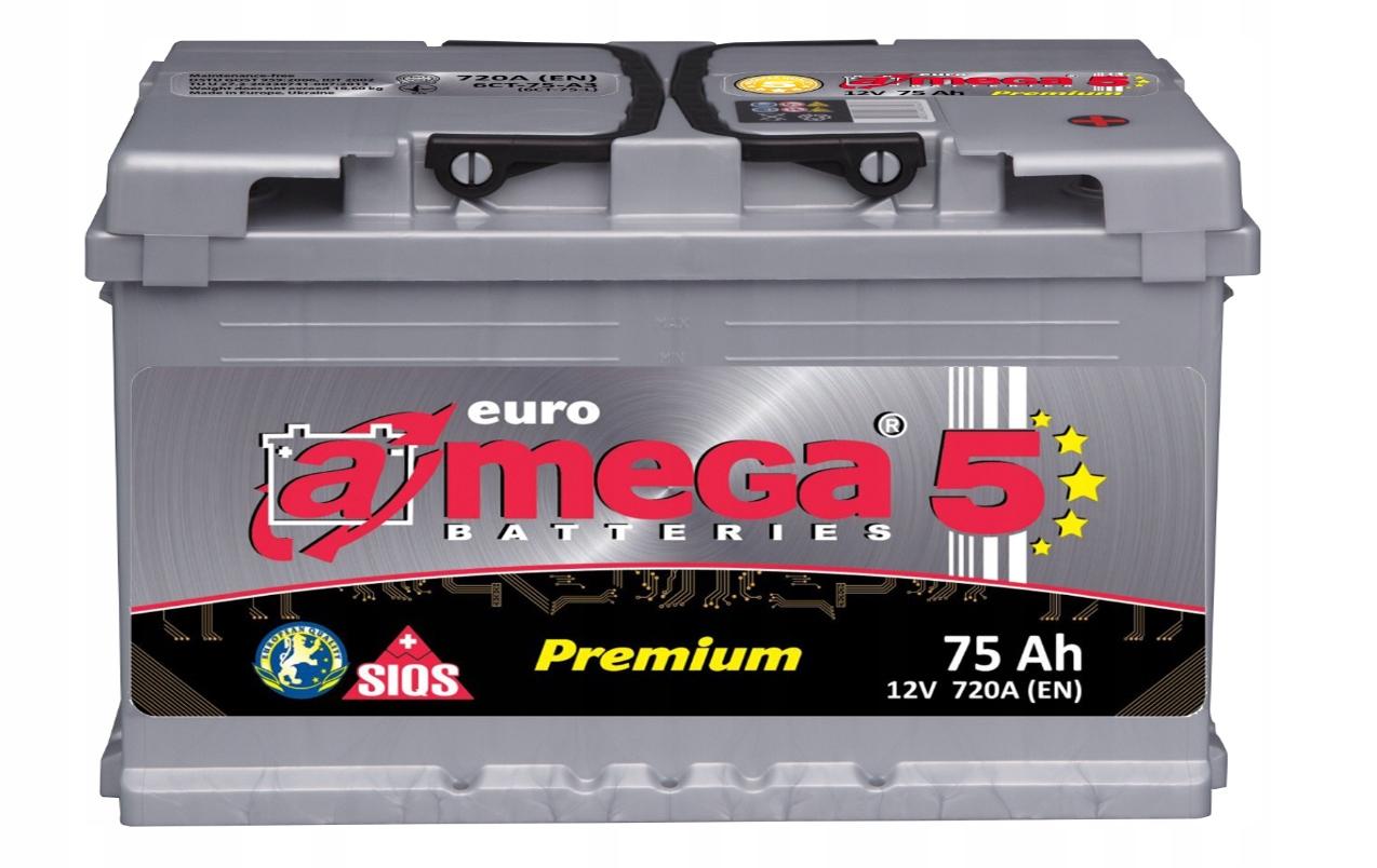 аккумулятор amega премиум m5 12v 75ah 720a